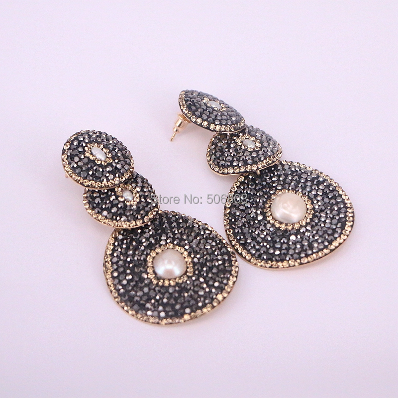 5Pairs Zyunz Jewelry Three Round earrings with small pearl black pave rhinestone crystal beads dangle earrings