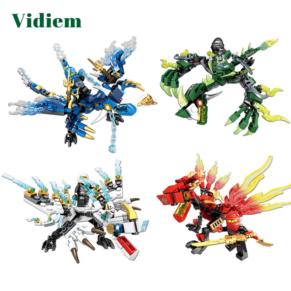 Vidiem Crearive DIY Building Blocks Toys For Boys Ninja Dragon Knight Series Compatible With Legoing Construction Small Bricks