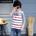 2017 Primavera Otoño moda niños de manga larga t-shirt 100% algodón de rayas niños ropa de niños O cuello camisetas