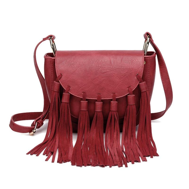 Luxury Designer High Quality Bag Brands Retro Tassel Saddle Crossbody Bag For Women Fringe Red Ladies Hand Bags Leather Handbags fred perry b8233 143
