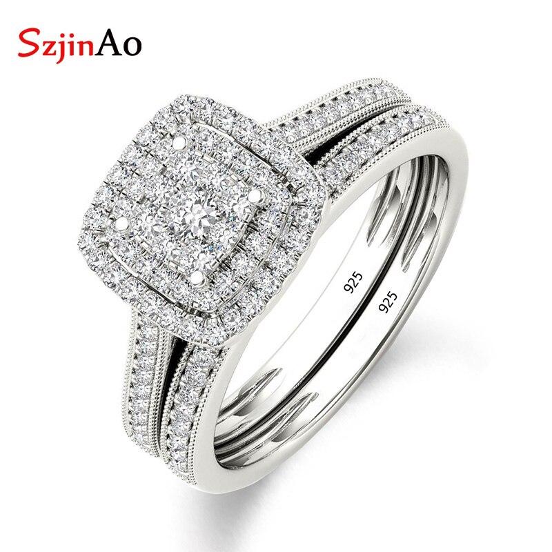 Szjinao De Luxe Marque 925 En Argent Sterling ensemble nuptial Anneau pour les Femmes avec Pavée Micro Laboratoire Diamant Couleur Platine bijoux de mariage