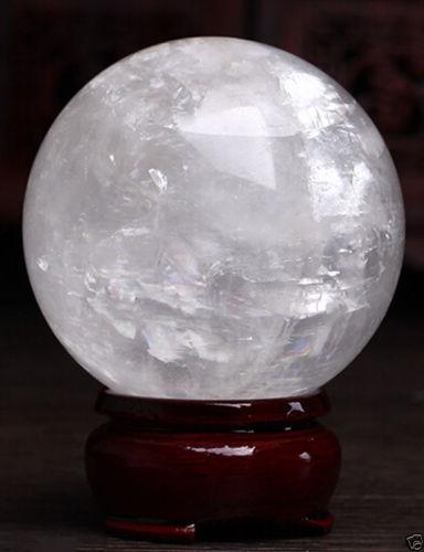 Sphère de guérison décoration magique cadeau fin 80mm + support naturel blanc Calcite Quartz cristal sphère boule de guérison pierre gemme