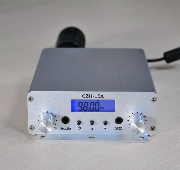 CZH-15A 15W FM stereo PLL broadcast transmitter wholesale   free shipping cze 7c 7watt stereo lcd broadcast radio station fm transmitter 12v adapter antenna cable