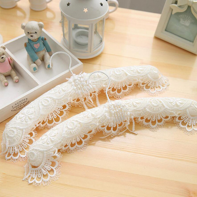 6 Pcs Deluxe White Lace Wedding Dress Hanger For Bride Pearl Tel Fancy Luxury Fabric