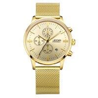Business Men Luxury gold JEDIR Men's Watches Waterproof Mesh Band Quartz Sport Watch Chronograph Men's Wrist Watches Clock Men