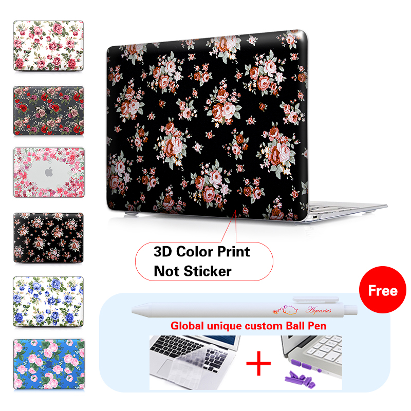 Retro Rose Floral Matte Case For Apple Macbook Air 13 Case Air 11 Pro 13 Retina 12 13 15 Laptop Bag For Mac Book Pro 13 Case love and clouds two kinds of styles passport cover passport holder luggage tag silicone strap three pieces