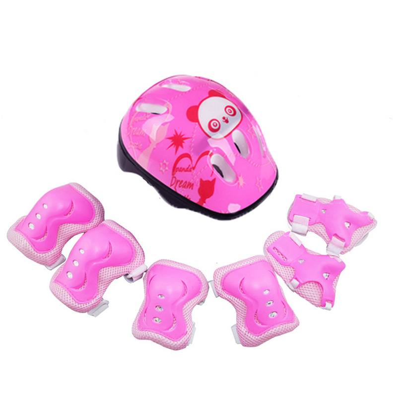 7pcs/set  PVC+PP Helmet Protective Gear Elbow Pads For Bicycle Skateboard Ice Skate Roller Adult Kids Girls Gift Fits 3-12years