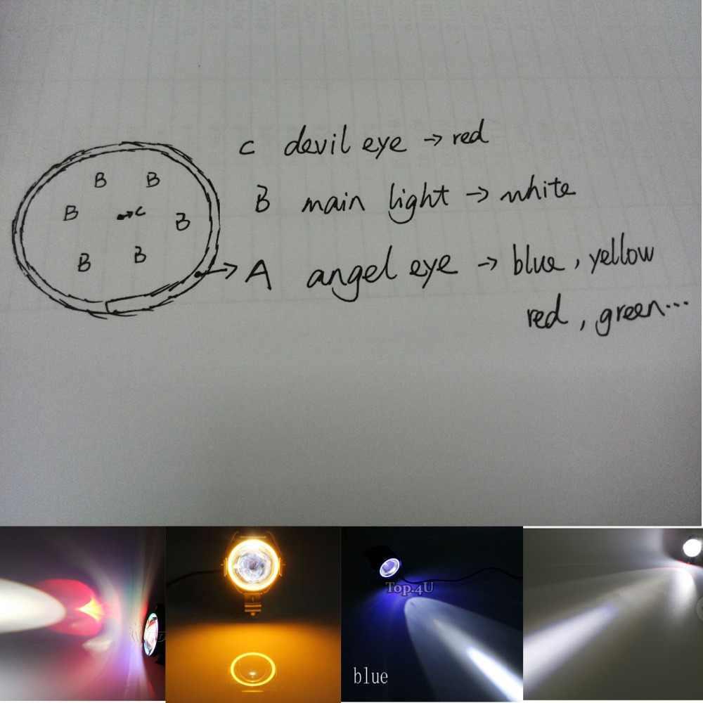 Set 2pcs 4 colors Motorcycle LED Headlight U7 LED Fog Lamp Spot Light  Spotlight Driving Daytime Lights &1pcs Wiring Harness kit