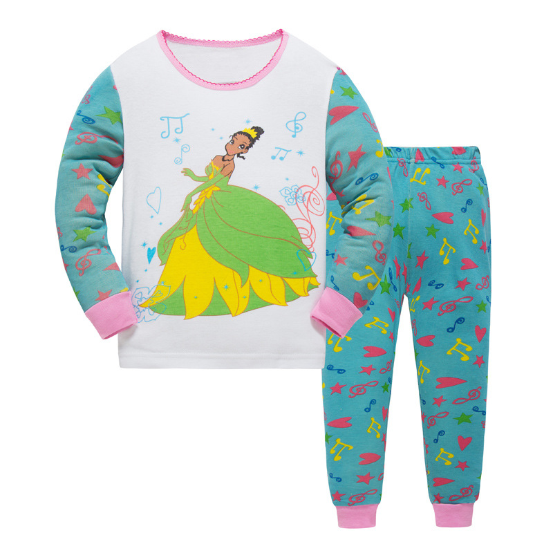 New kids Autumn Pajamas Sets Girls cartoon sleepwear princess cotton Long Sleeve nightwear Sets children Pyjamas Christmas gift