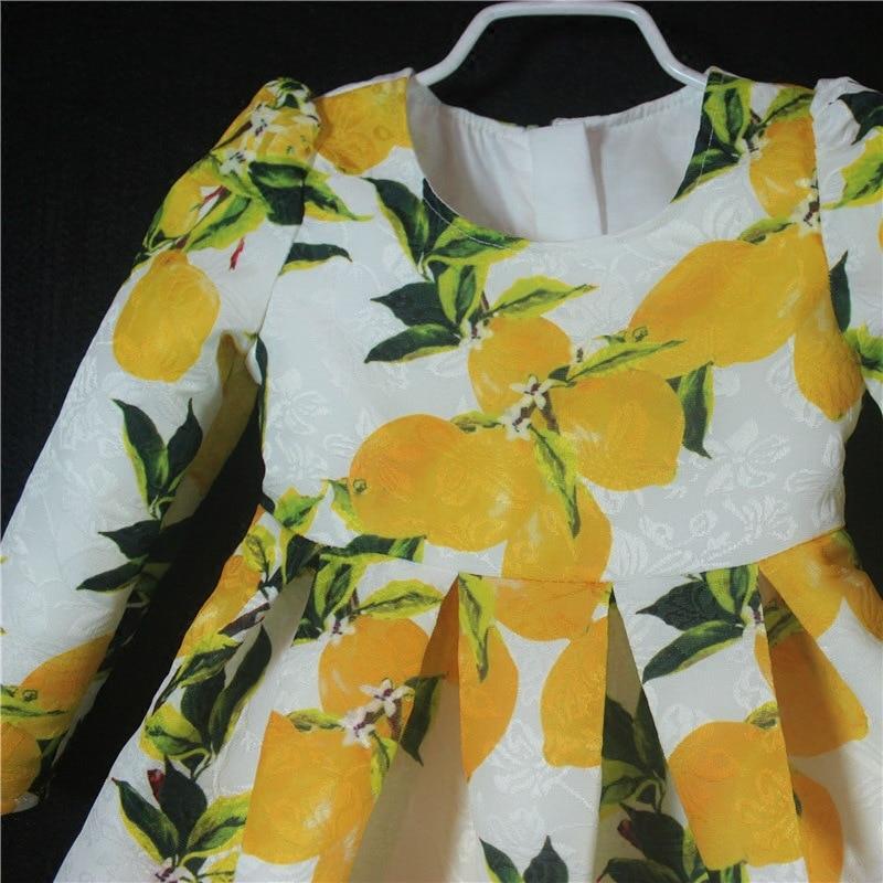 Maman bébé mère fille robes fête d'hiver à manches longues Design de luxe mère et fille vêtements robe de princesse citron - 2