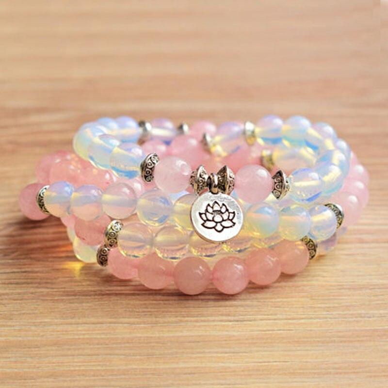 108 Spirituelle Steine Natürliche Ge-mstone Mala Fruchtbarkeit Opalite Rosequartz Armband Frauen Wrap-om Armband Lotus Mala
