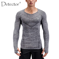 Detector Mens Fitness Running Shirts Tight Long Sleeves Round Neck Tops Elastic Quick Dry Jerseys Autumn