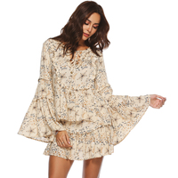 Jastie Gypsy Collective Celestial Blouse V Neck with Tie Oversized Flare Sleeve Women Shirt Top Boho Stars Print Blouses Blusa