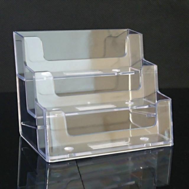 Acrylic Display Stand Plastic Desktop Business Card Holder Desk Shelf Box Transparent Organizadores Storage Box