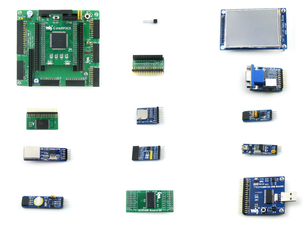 Altera Cyclone Board EP3C5 EP3C5E144C8N ALTERA Cyclone III FPGA Development Board +13Accessory Module Ki t=OpenEP3C5-C Package A waveshare coreep3c5 ep3c5 altera cyclone iii chip ep3c5e144c8n fpga evaluation development core board with full io expanders