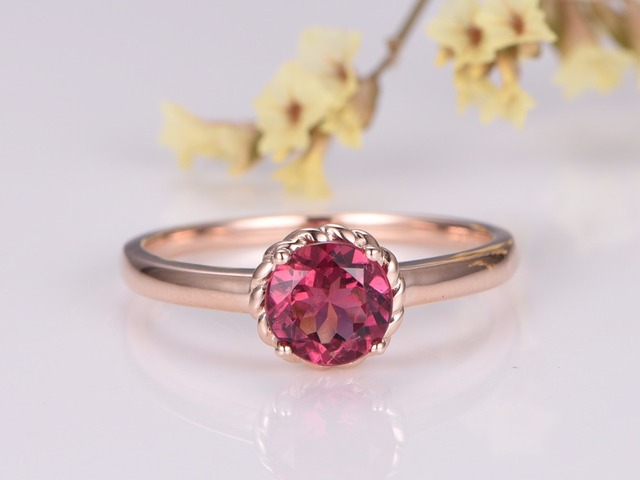 with band tourmaline engagement in gold rings rose products black set quartz ring diamonds pav prong pave