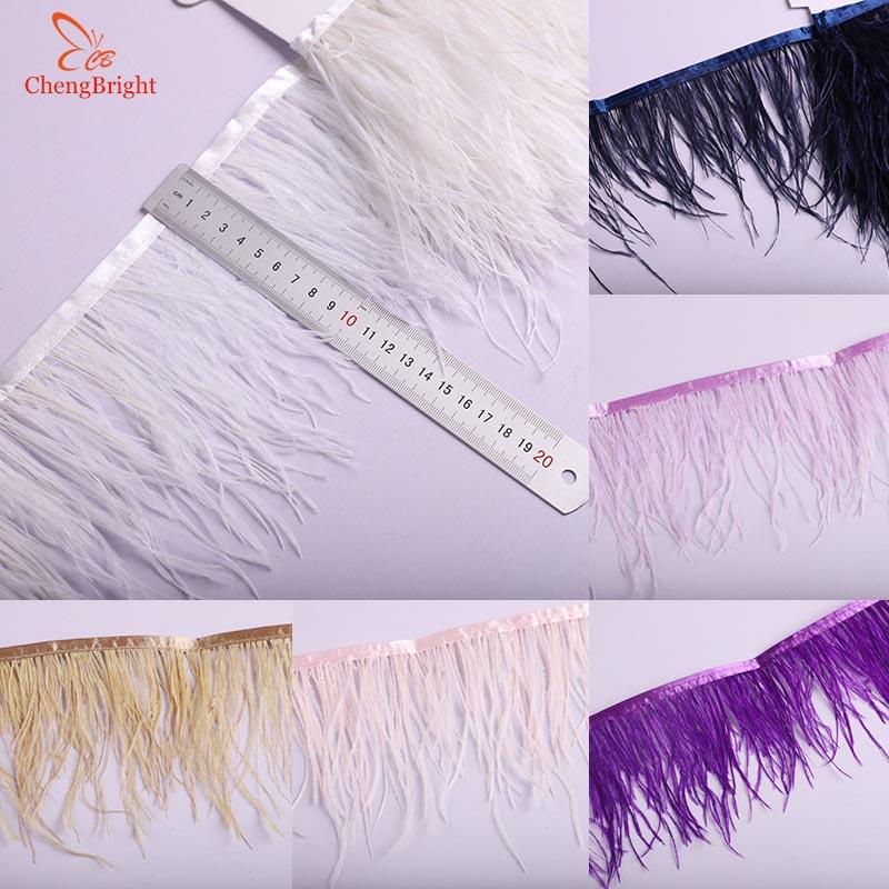 CHENGBRIGHT 50 jardów biały strusich piór wykończenia tkaniny 10 15 cm szerokości dla spódnice/sukienki/odzież Party DIY strusia wstążka z piór w Pióro od Dom i ogród na  Grupa 1