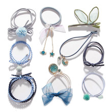 New Style 5-9Pcs/Set Ribbon Bowknot Hair Ropes Rubber Band Cute Hair Tie Bow Star Elastic Hair Band Women Girls Hair Accessories(China)