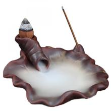 Lotus Leaf Ceramic Backflow Incense Burner Smoke Waterfall Holder Crafts Aromatic Home Office Road