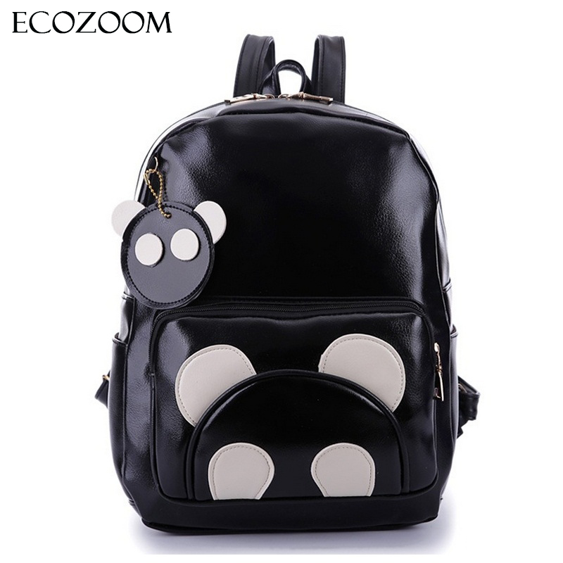 Fashion Women PU Leather Panda Backpack Teenagers Girls Cartoon School Bags Student Book Bag Cute Black