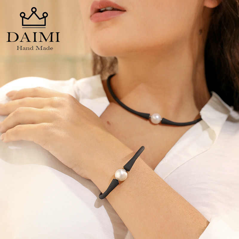 DAIMI Black Silicone Necklace Bracelet 11mm White Freshwater Pearl Jewelry Set Casual/Sporty Women Accessories 41-42cm Choker