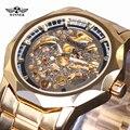 Winner New Number Sport Design Bezel Golden Watch Mens Watches Top Brand Luxury Clock Men Automatic Skeleton Watch Montre Homme
