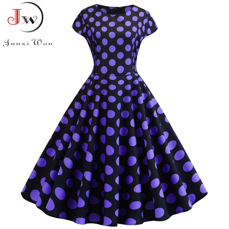 Summer Short Sleeve Polka Dot Dress Women Elegant Work Office Casual Print A-Line Vintage Dress Big Swing Rockabilly Vestidos 4