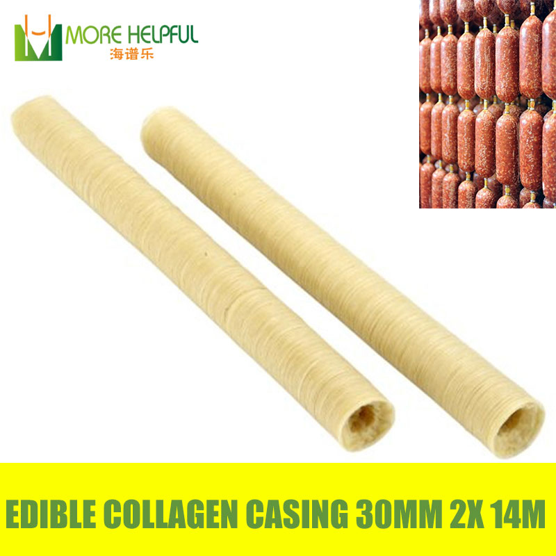 Best sales halal edible sausage casing 2pcs Lot total 28meters Diameter 30mm sausage Collagen casing free