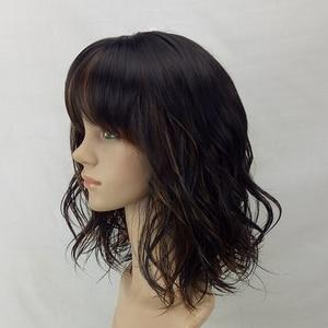 Image 2 - HAIRJOY peluca sintética para mujer postizo de pelo degradado, marrón, de longitud media, con flequillo, resistente al calor, 6 colores, Envío Gratis
