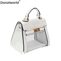 Donalworld Women Clear Turn Lock PVC Transparent Candy Handbag Messenger Bags Casual Shoulder Bag Solid Summer Doctor Styles
