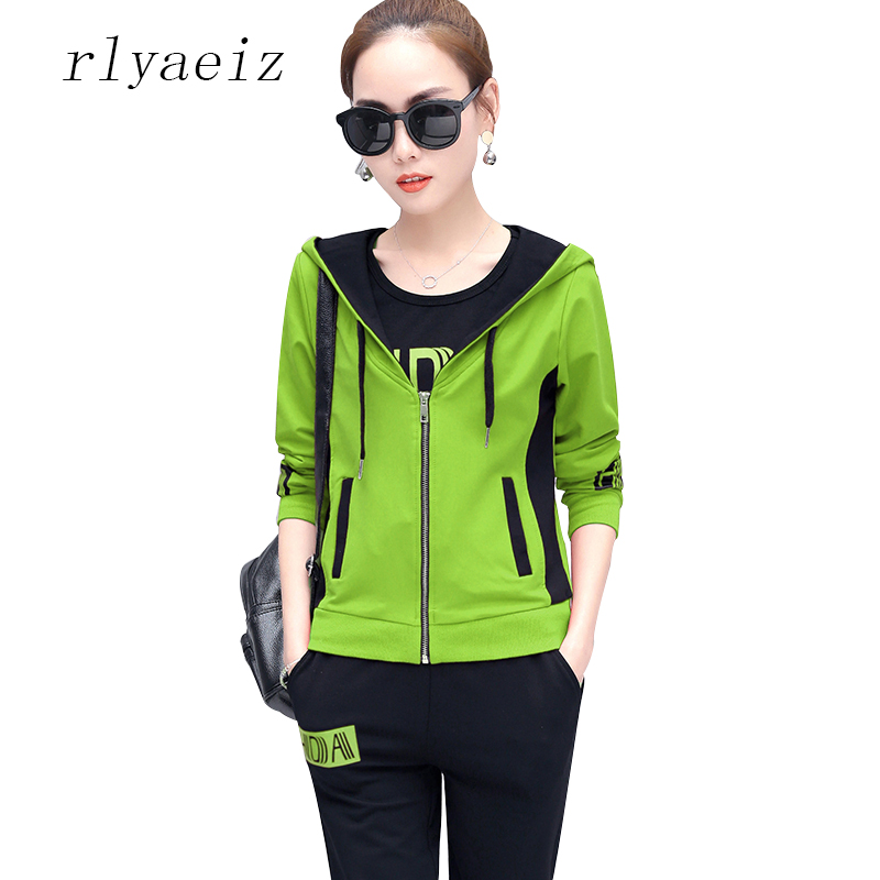 RLYAEIZ High Quality Sportswear 2017 Autumn Women Two Piece Set Casual Printed Hoodies + Pants Sporting Suits Ladies Tracksuits