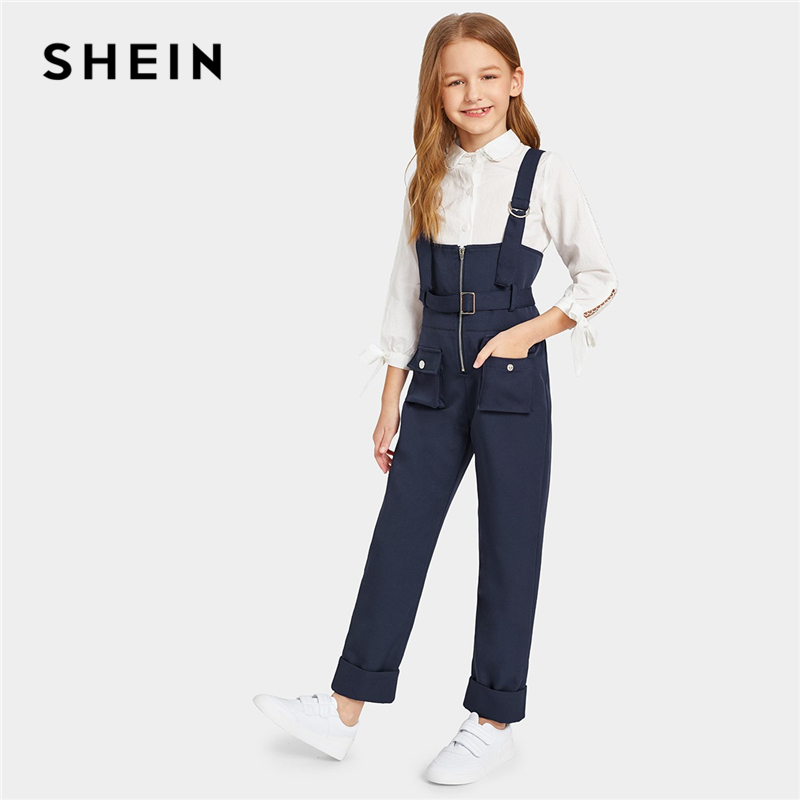 SHEIN Kiddie Navy Pocket Patched Zip Up Pinafore Jumpsuit With Belt 2019 Summer Straps Preppy Straight Leg Kids Casual Jumpsuits print halter wide leg jumpsuit