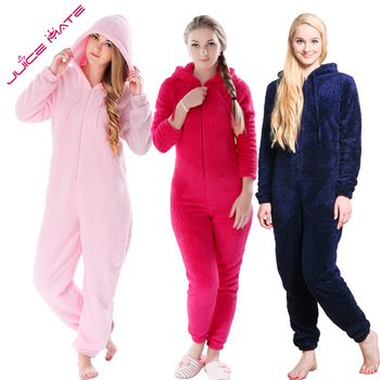 Winter Warm Pyjamas Women Plus Size Sleepwear Female Fluffy Fleece Pajamas Sets Sleep Lounge Hooded Pajamas For Women Adults pajamas