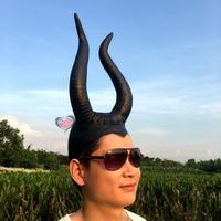 Halloween devil sleeping curse Bar Party COS Sleeping Beauty witch props black horn head mask