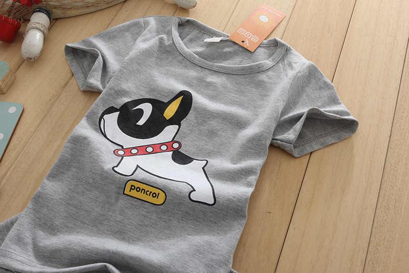 2 יחידות\סט כותנה קיץ ילדי ילד ילדה בגדי סטי ילדי Cartoon כלב T חולצה מכנסיים פעוטות פנאי ספורט חליפות חולצה