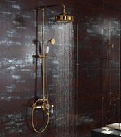Free shipping Rainfall shower and bath faucet mixer tap Bath Bathroom Gold Rain & Hand Shower & Tub Spout Set