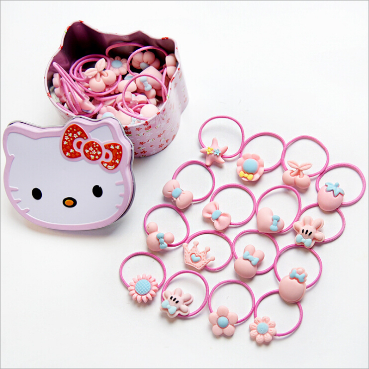 1 Box Hello Kitty Baby Girls Kids Elastic Hair Rubber Bands Tie Ring Rope Accessories For Children Gum Scrunchie Ponytail Holder m mism 2pcs new rhinestone bead hair elastic band hair accessories rubber tie gum ponytail holder scrunchy for women girls