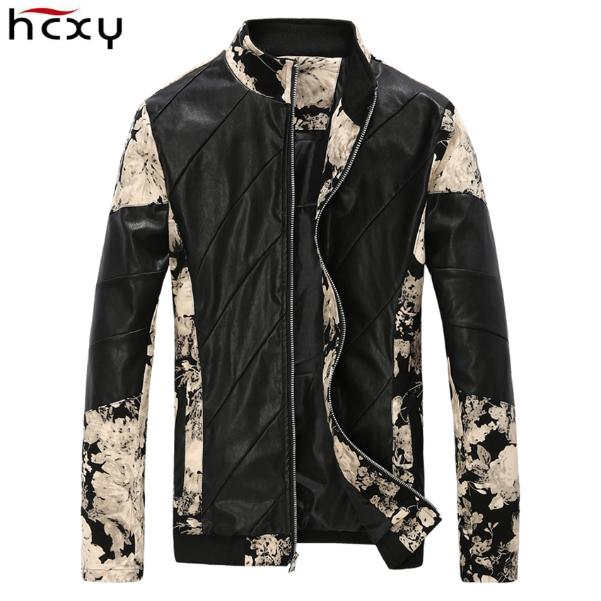 2017 New Classic Brand Mens Fashion leather Jackets men Flower Patchwork Design Casaul spring jacket and