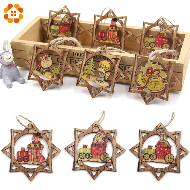 6PCS 6Styles Creative Star Wooden Pendant Ornaments DIY Wood Crafts Xmas Tree Ornament for Christmas Party Decorations Kids Gift