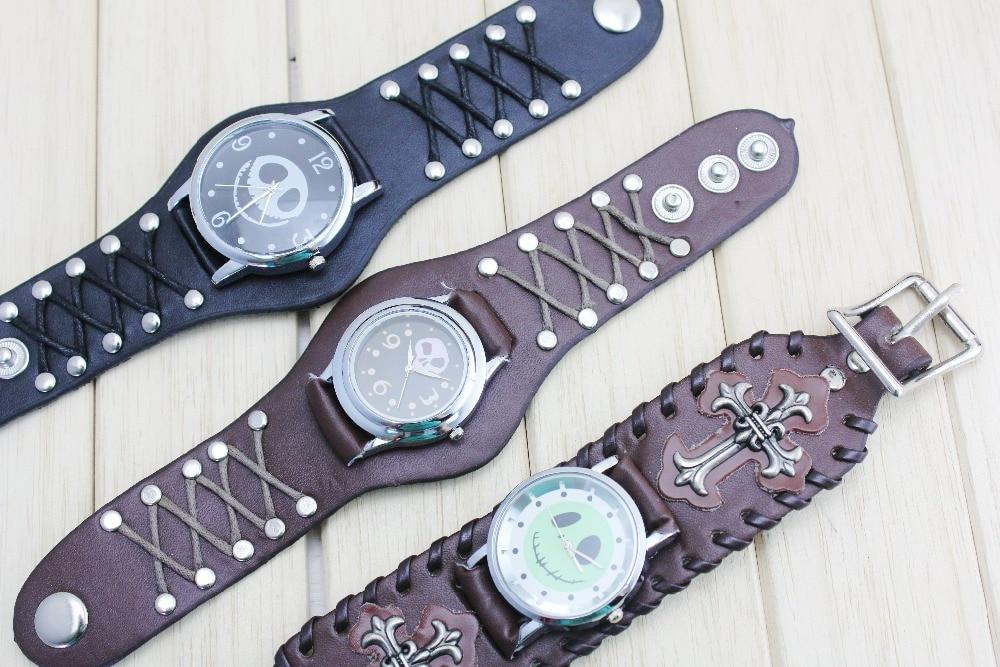 2016 Antique Cover Design Leather Analog Quartz Skeleton Cool Punk Skull Watch For Men Fashion Clock