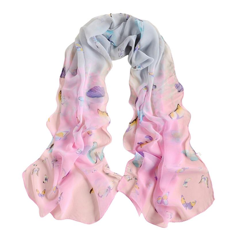Bigsweety 160*50cm Women Soft Chiffon   Scarves   Butterfly Flower Print   Scarf   Long Shawls Female   Scarves     Wrap   Fashion Large Size