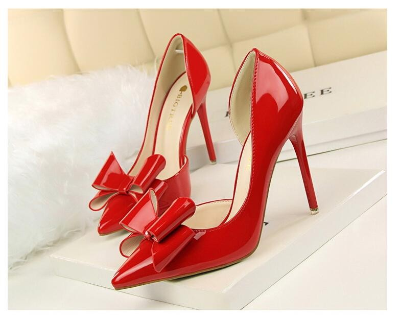 {D&H}Brand Women Shoes High Heels Women's Pumps Bow Two Piece Thin Heel Wedding Shoes Valentine Shoes White zapatos mujer 3