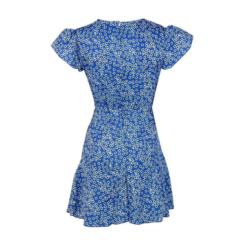 Yienws Women Polka Dot Dress 2019 Sexy Ruffles Vestido Floral Summer Beach Dresses Female Casual Sundress Bandage Jurken YiZ18 in Dresses from Women 39 s Clothing