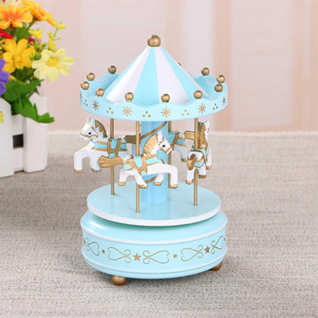 2019 merry-go-круглая деревянная музыкальная шкатулка игрушка детская игра домашний декор карусельная лошадка музыкальная шкатулка Рождество Свадьба День рождения подарок