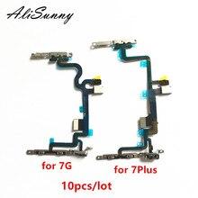 Alisunny 10 Pcs Power Flex Kabel Voor Iphone 7 Plus 7G 7 P Aan Uit Schakelaar Volume Controle Met metalen Beugel Led Flash Onderdelen