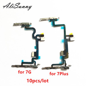 Image 1 - Alisunny 10 個電源フレックスケーブル iphone 7 プラス 7 グラム 7 4p スイッチボリュームコントロール金属ブラケット led フラッシュ部品