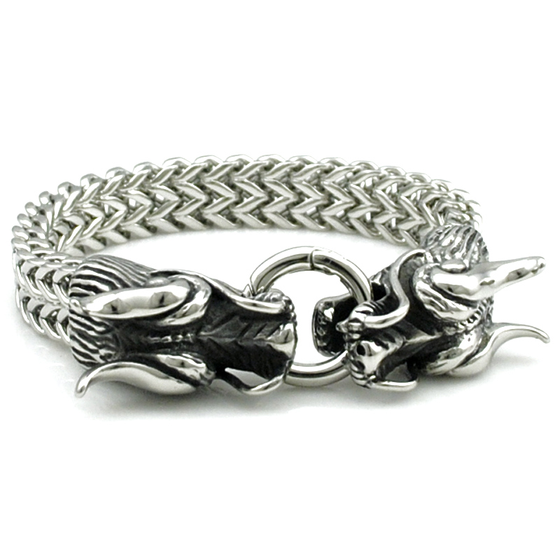 ATGO Cool Stainless Steel Double Dragon Bracelets For Men Personality Fashion Stainless Steel Bangle Men's Gift BB1363 trustylan cool stainless steel dragon grain bracelets men new arrival punk rock keel mens bracelets