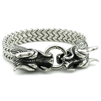Cool Stainless Steel Double Dragon Bracelets For Men New Arrival Personality Fashion Stainless Steel Bangle Men