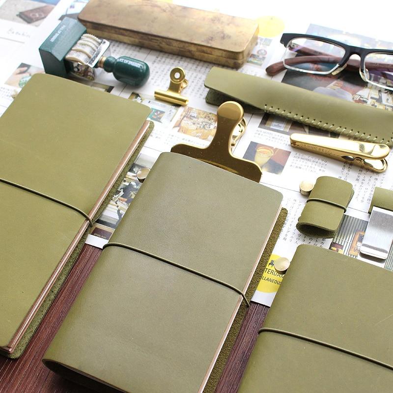 DinThenon Vintage Notebook Jurnal Olive Green Planificator de Piele - Blocnotesuri și registre - Fotografie 3
