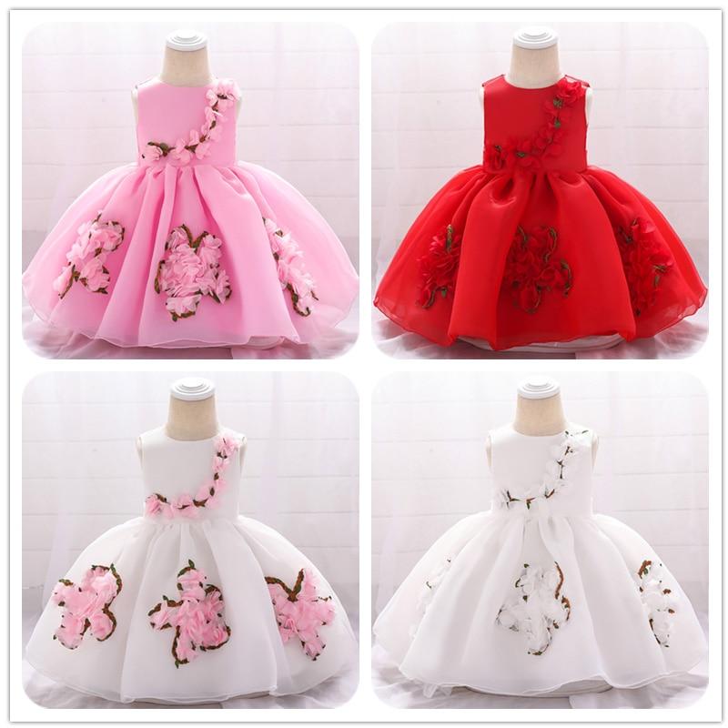 Newborn Baby Clothes Summer Flower Girls Party Dress Ball Gown For Kids Princess Dress Baby Costume First Communion Tutu Dresses